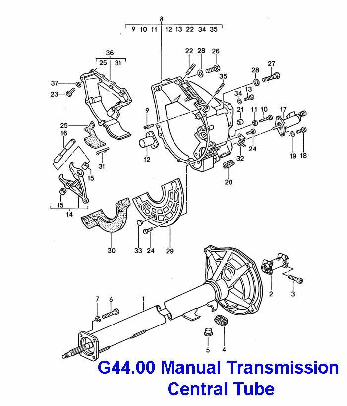 Porsche 968 G44.00 6 Speed Transmission Central tube 92-95