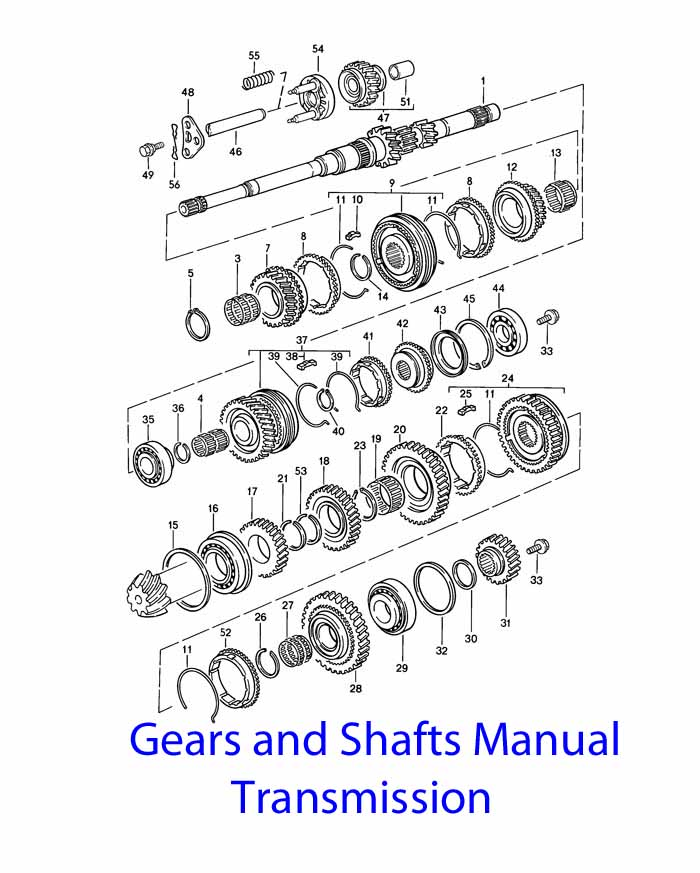 Porsche 924 S Manual Transmission Gears and shafts 1987-88