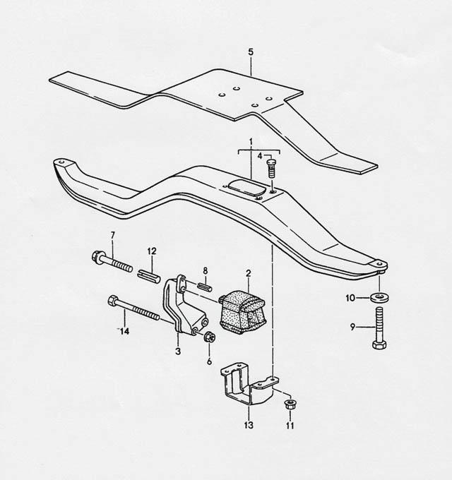 Porsche 968 Transmission Carrier manual transmission