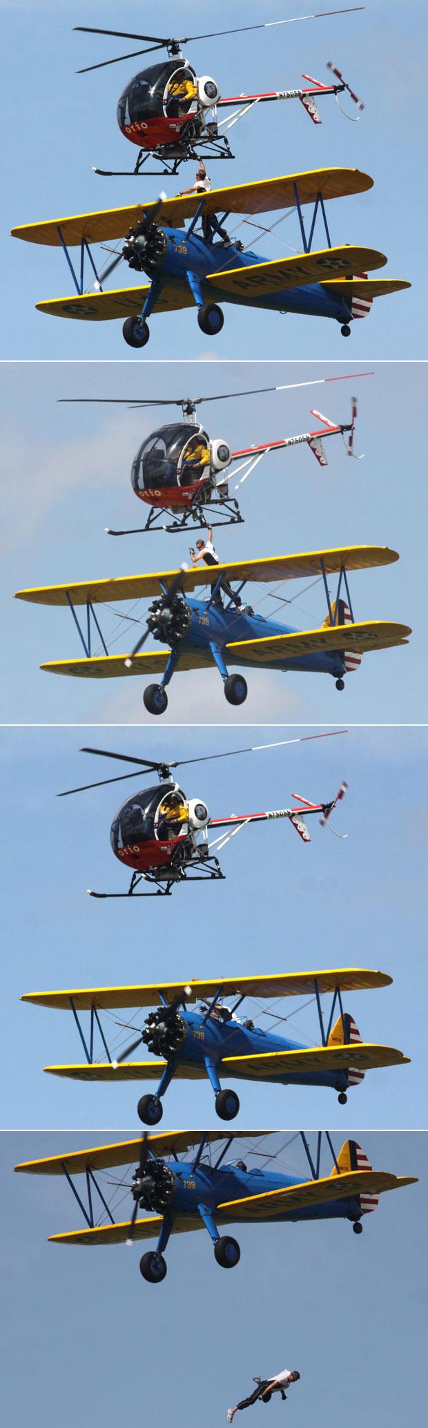 wing walker falls fran4 Fotos mostram o momento em que americano cai e morre ao tentar passar de avião para helicóptero
