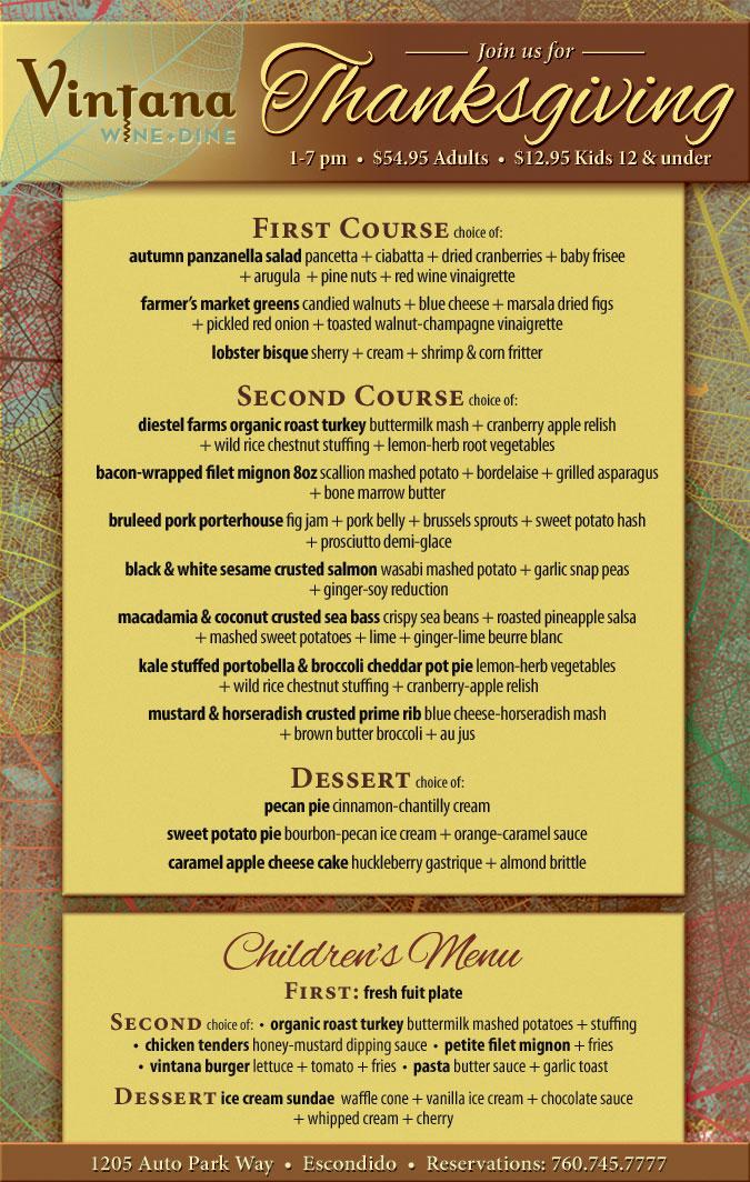 menu thanksgiving dinner