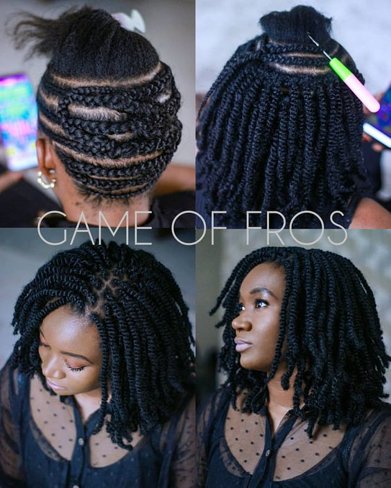 crochet braid hairstyle with kinky twist game of fros