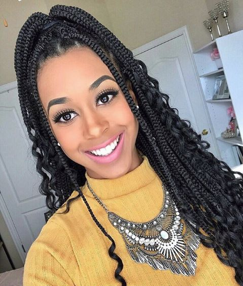 medium bohemian box braids