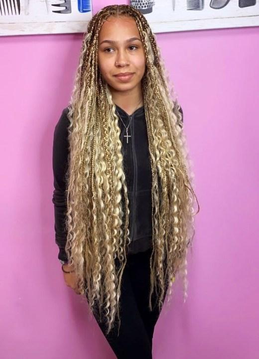 blonde bohemian box braids