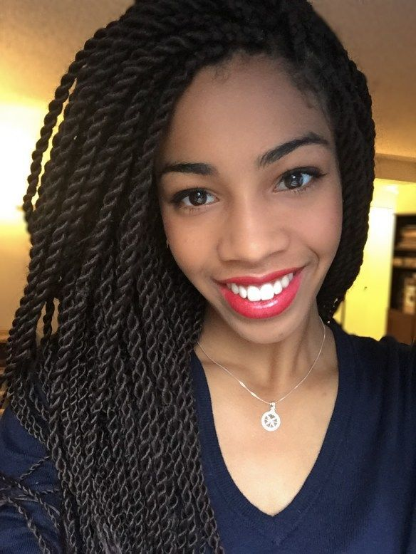 Senegalese Twists With a Deep Side Part