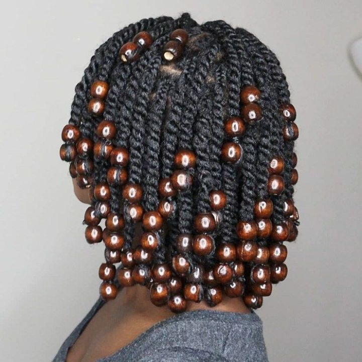 Two strand twists on long hair