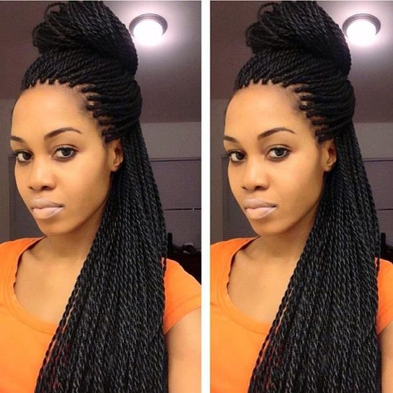 Half-Up Half-Down Senegalese Twists