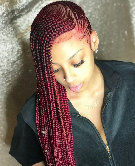 Burgundy Lemonade Braids