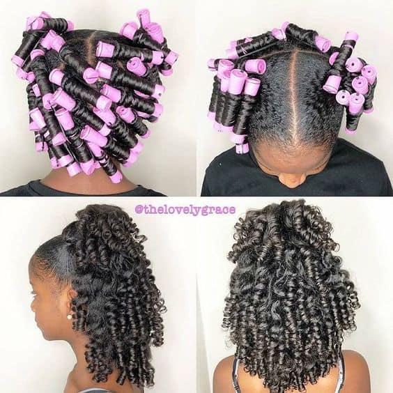 perm rod set on 4c natural hair