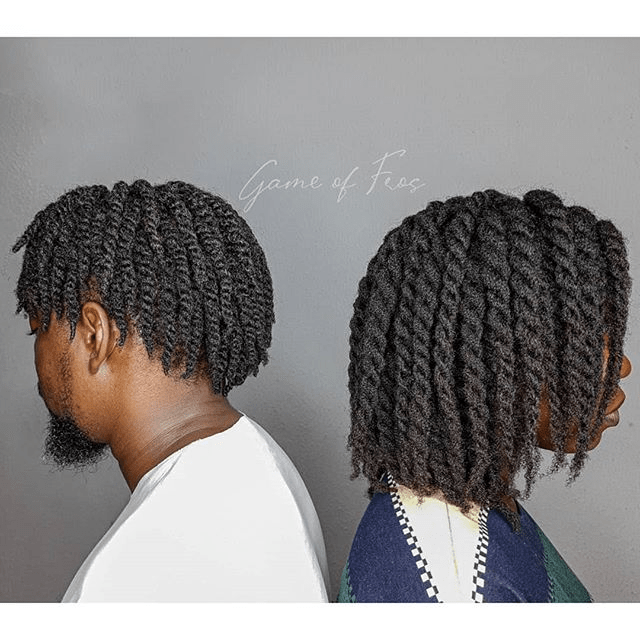 game of fros two strand twist on short 4c hair