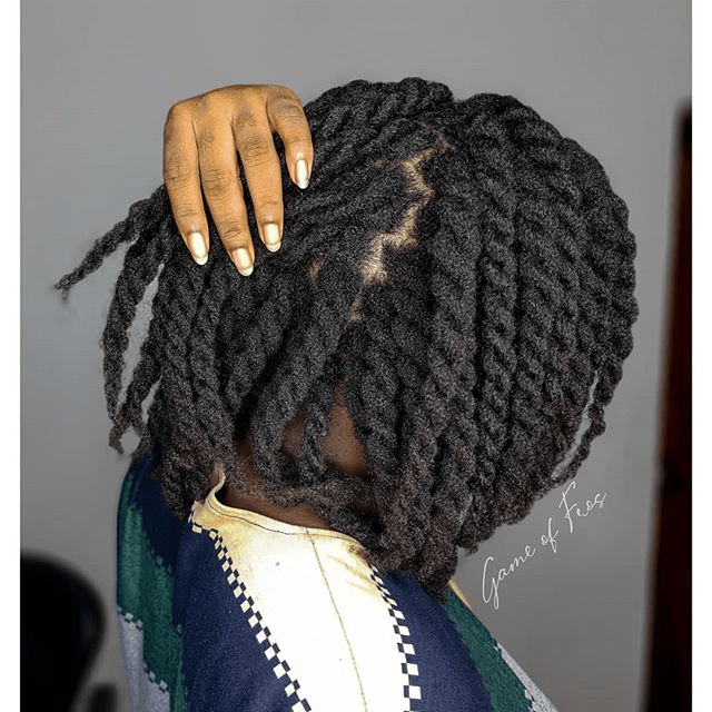 loose two strand twist on 4c hair game of fros