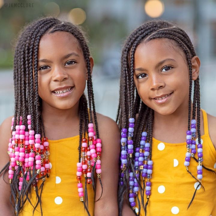 mixed kids cornrows with beads