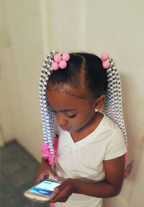 black kids braided ponytail hairstyles with beads