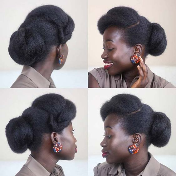 4c natural hair in a bun