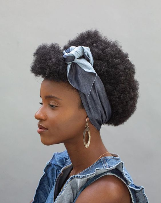 afro puff with headband