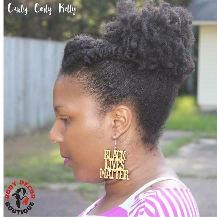 afro puff with bangs