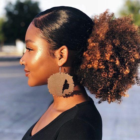 afro puff draw string ponytail