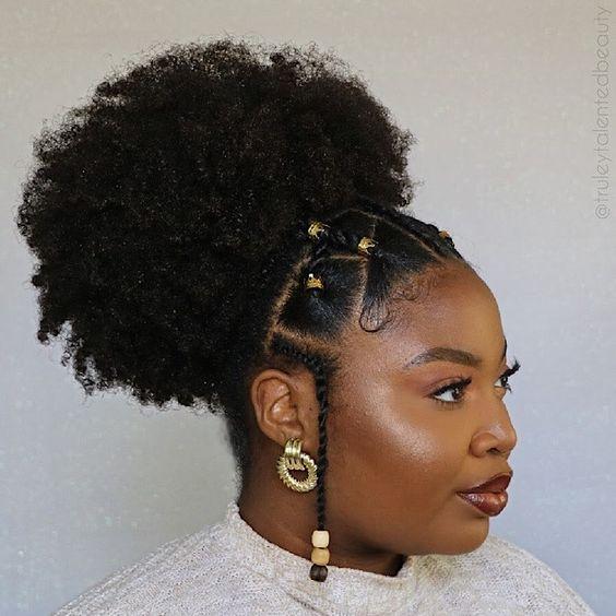 afro puff with fulani braids on @truleytalentedbeauty