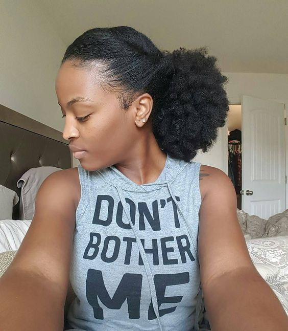 afro puff hairstyle on long natural hair