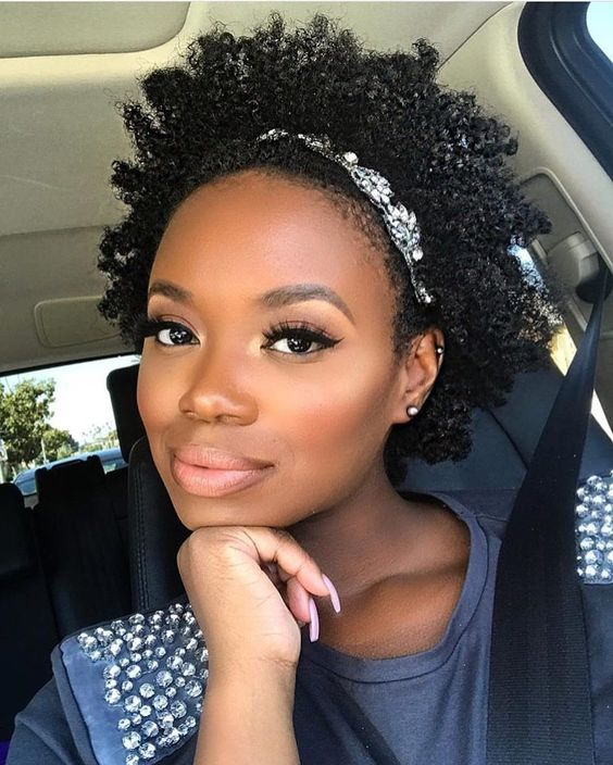 afro puff with a headband