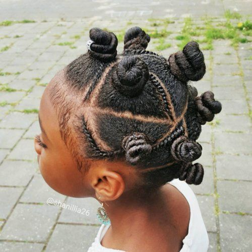 bantu knots with flat twists on kids hair