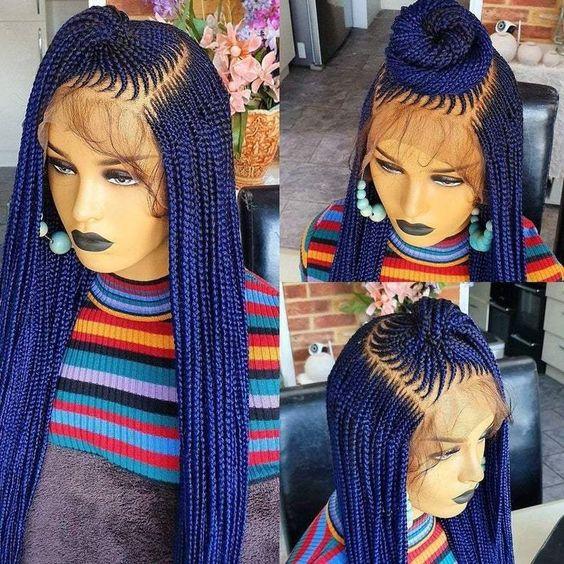 purple cornrow wigs for black women