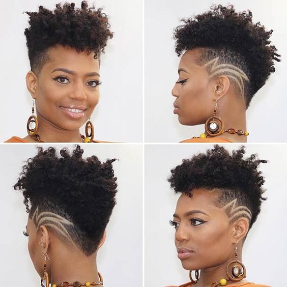 tapered haircut with design on natural hair