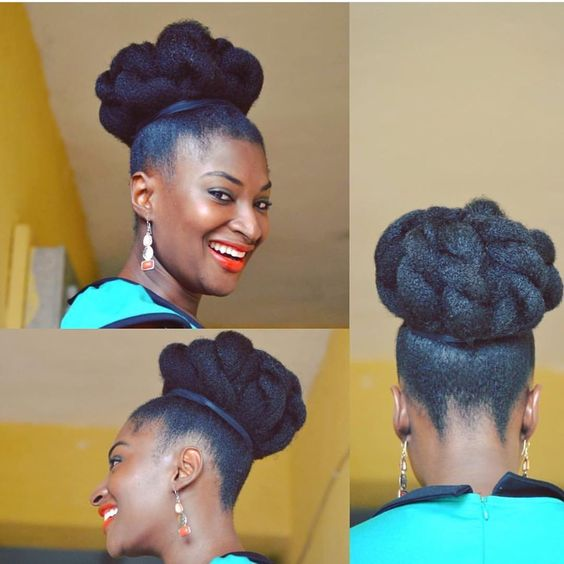updo on long 4c hair