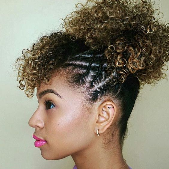 afro puff with side cornrows and bangs