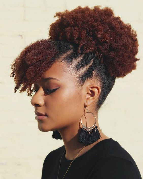 Afro puff with bangs and side twists
