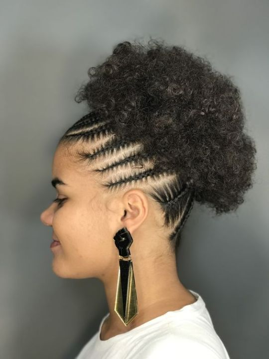 afro puff on 3c hair with cornrows