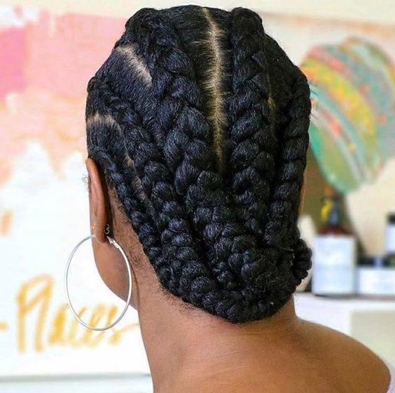 all-back cornrows on long natural hair