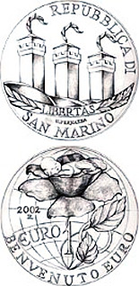 Silver 10 euro coins. The 10 euro coin series from San Marino