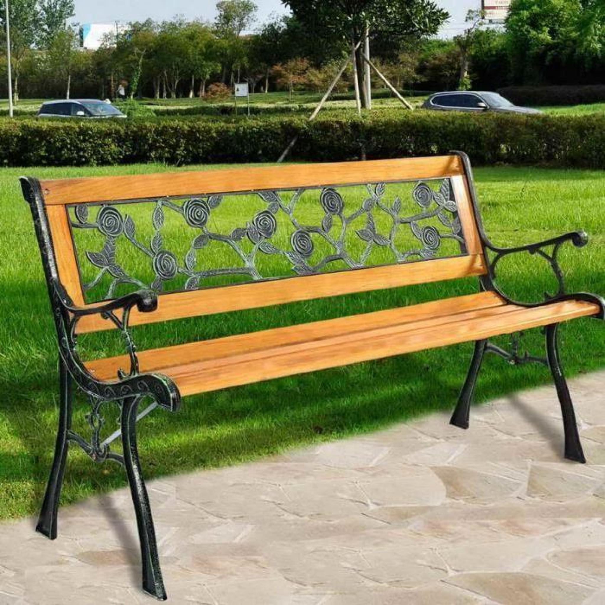 banc de jardin magnifique en bois et fonte a motif floral 122 x 56 x 74 cm achat vente banc de jardin en bois pas cher coindujardin com