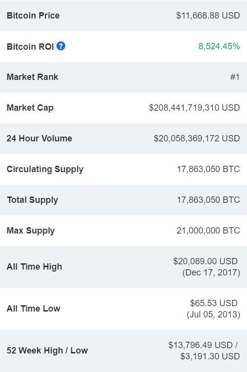 Bitcoin price ROI