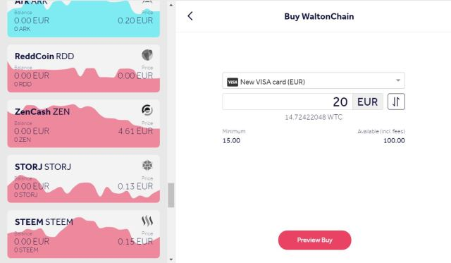 Buy Waltonchain (WTC) online