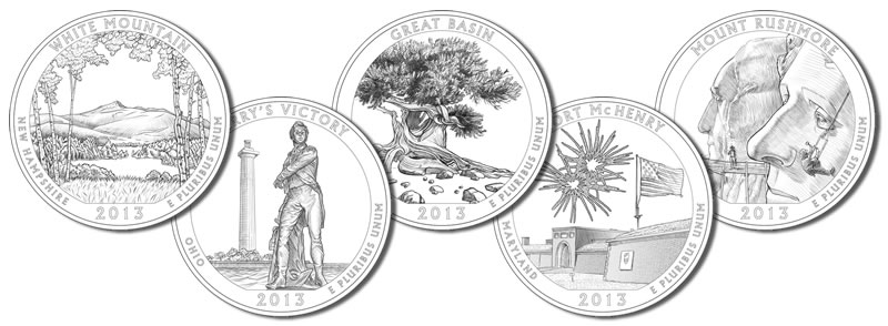 2013 America the Beautiful Quarters and 5 Oz Silver Coin