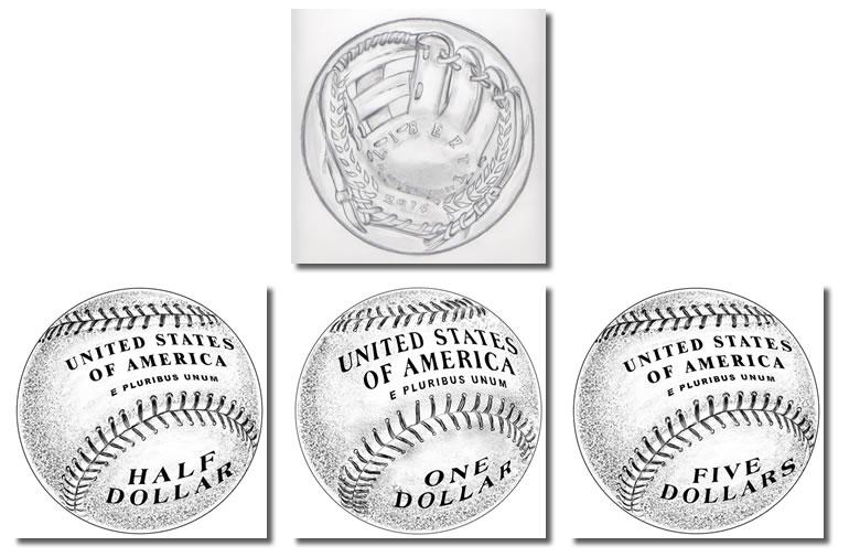 2014 Baseball Coin Reverse Selected, Glove Design for