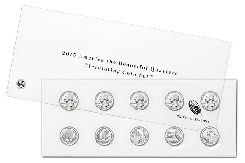 10-Coin Set of Circulating 2015 America the Beautiful