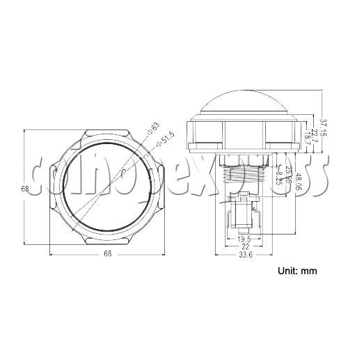 63mm Dome Illuminated Push Button