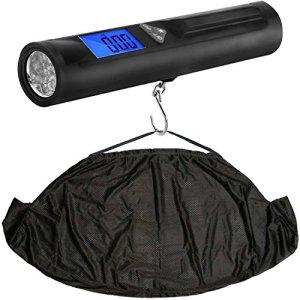 Balance de pesage électronique 3 en 1 pour pêche numérique et fronde, | Échelle, barre de pesée, torche et bride dans l'empaquetage de détail – pèsent en livres. Onces et kilogrammes