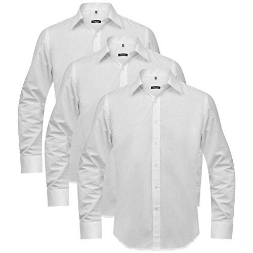 Lingjiushopping 3 Chemises de Travail pour Homme Taille XL Blanc Taille: XL Chemise