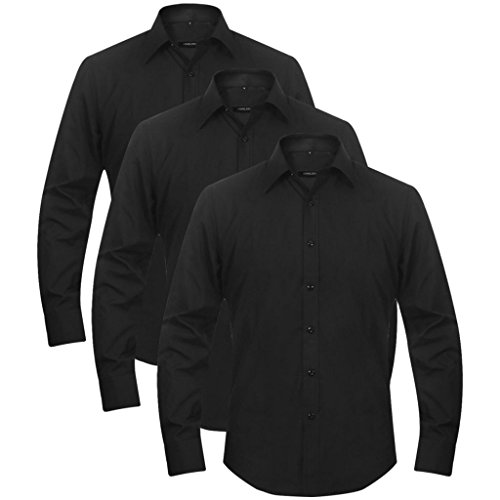 Lingjiushopping 3 Chemises de Travail pour Homme Taille XXL Noir Taille: XXL Chemise