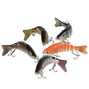 BUONDAC 5 Pcs Leurres de Pêche Bait Artificiel Multi-articulés 7 Segments Life-Like pour la Truite Basse Perche Pêche Attaches d'eau Leurre Articulé Douce et d'eau Salée (10cm, 16g)