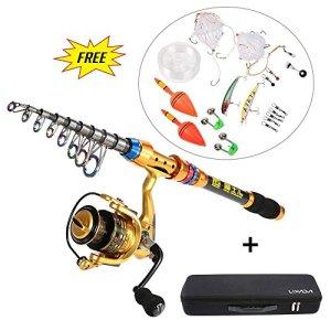 Lixada Kit de Pêche Reel Combos Spinning Rod et complet télescopique pôle canne à pêche avec bobine ligne Leurres Crochets