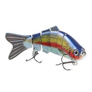 TRUSCEND Leurres de pêche brochet avec 2 Crochets articulé leurre Peche carnassier pour brochet, Perche, Truite (Red)
