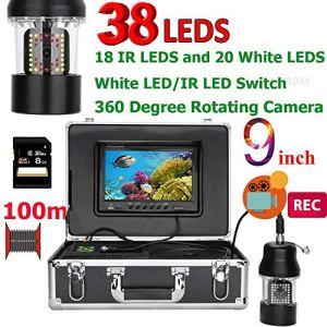 ZY Enregistreur DVR de Poissons de caméra de pêche de 9 Pouces 100 mètres sous-Marin IP68 imperméable à l'eau 38 LED 360 degrés de caméra tournante