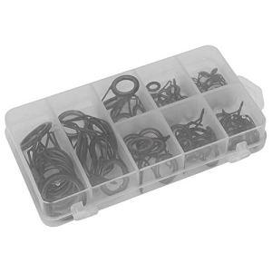 Alomejor 75PCS / Boîte Anneaux Guide de Canne à Pêche Taille Mixte Anti-corrosif Pratique Kit Oeil Anneaux Réparation de Pôle