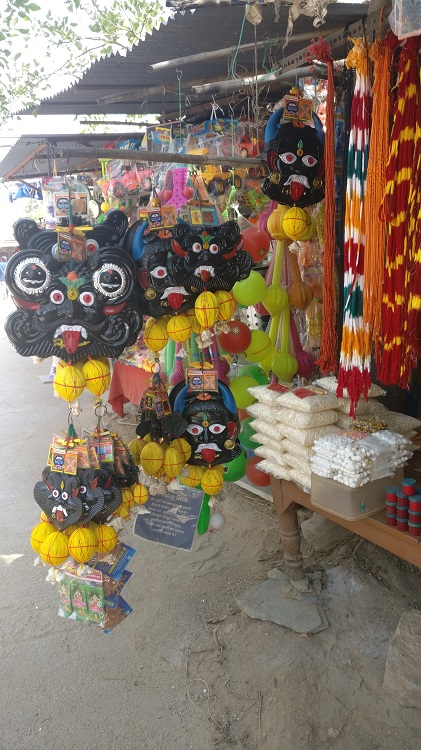 Masks that are hung outside the houses