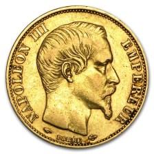 20 Φράγκα, Ναπολέων ΙΙΙ, Χρυσός 900, Γαλλία 1852 - 1870